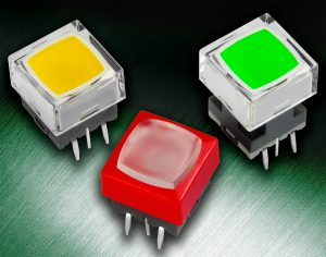 NKK's JB series of illuminated tactile switches offer several options for specifications such as LED colors, cap styles and colors, actuator heights and operating force.