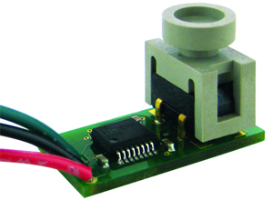 Honeywell's 26PC wet media pressure sensor with a custom printed circuit board and flying lead wire termination.