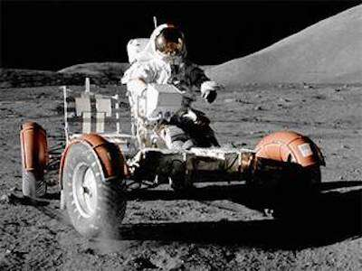 On the last three Apollo missions, astronauts drove a lunar rover on the moon. Credits: NASA