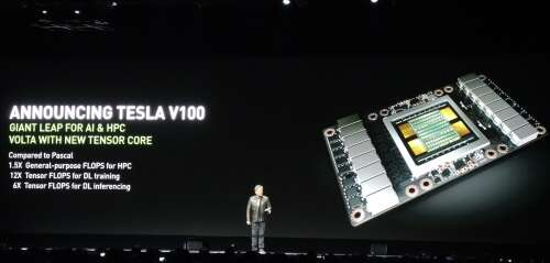 Volta delivers a 50% better general-purpose performance than last year's Pascal, said Jensen Huang. (Images: EE Times)