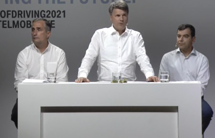 Intel CEO Brian Krzanich (left), Harald Kruger, chairman of BMW's board (middle), Amnon Shashua, Mobileye Co-founder CTO (right)