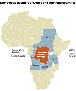 The Democratic Republic of Congo and adjoining countries are major sources of conflict minerals used to produce the '3TGs' -- tungsten, tantalum, tin, and gold -- used widely in electronic products. Often, warlords and militia groups control the mines and fund themselves through illicit minerals trade.   (Source: AT Kearney)