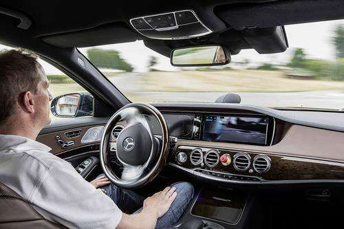 The Mercedes S-Class has several autonomous features, but the dashboard sportsa large red panic button, just in case.
