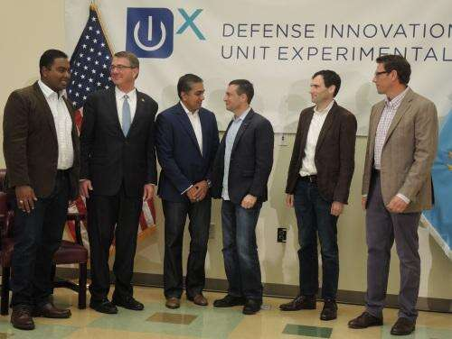 New DIUx management includes (from left) Vishaal Hariprasad, Ash Carter, Raj Shah, Doug Beck, Christopher Kirchhoff and Issac Taylor. (All images: EE Times)
