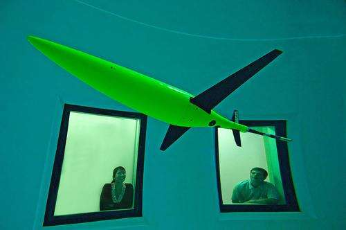 Seaglider drone in a test tank at the University of Washington where it was designed. (Source: University of Washington)