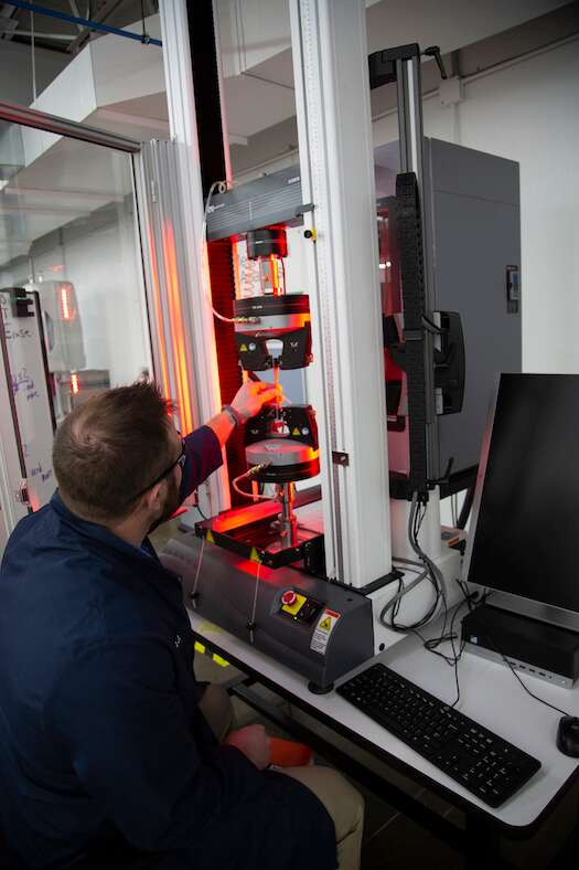 As part ofJabil's integrated MPM approach, each engineered material undergoes rigorous strength testing to validate durability and performance for a variety of applications.